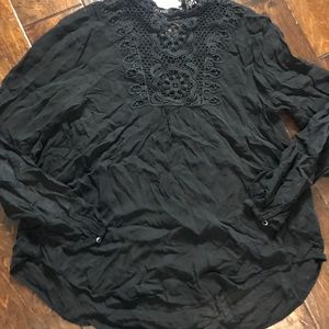 Zara Woman Embroidered High Neck Blouse